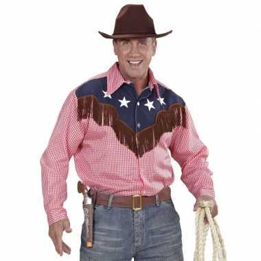 Cowboy verkleed geruit heren t-shirt kopen
