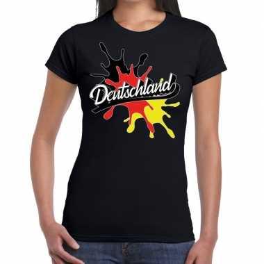 Deutschland/duitsland spetter zwart dames t-shirt kopen