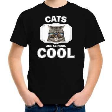 Dieren coole poes zwart kinderen cats are cool jongens meisjes t-shirt kopen
