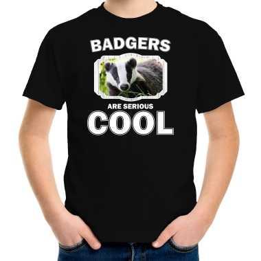 Dieren das zwart kinderen badgers are cool jongens meisjes t-shirt kopen