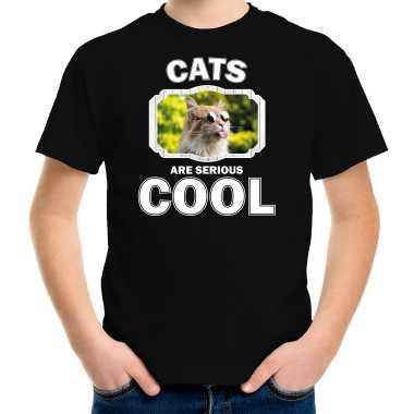 Dieren gekke poes zwart kinderen cats are cool jongens meisjes t-shirt kopen
