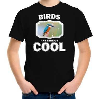 Dieren ijsvogel zwart kinderen birds are cool jongens meisjes t-shirt kopen