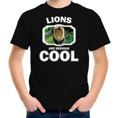 Dieren leeuw zwart kinderen lions are cool jongens meisjes t-shirt kopen
