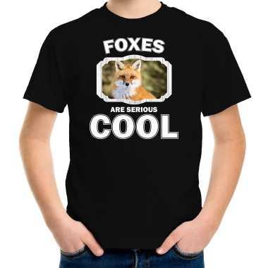 Dieren vos zwart kinderen foxes are cool jongens meisjes t-shirt kopen