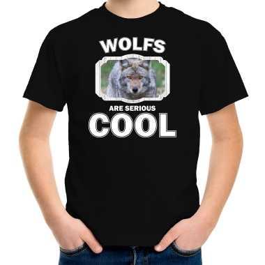 Dieren wolf zwart kinderen wolves are cool jongens meisjes t-shirt kopen