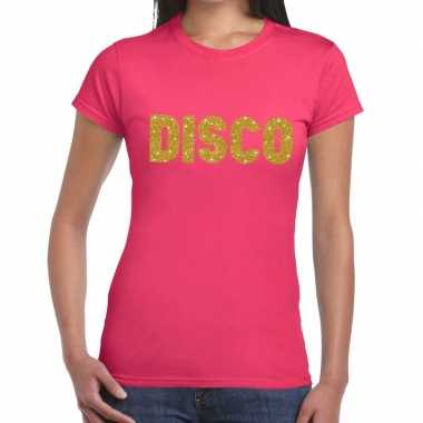 Disco goud glitter tekst roze dames t-shirt kopen