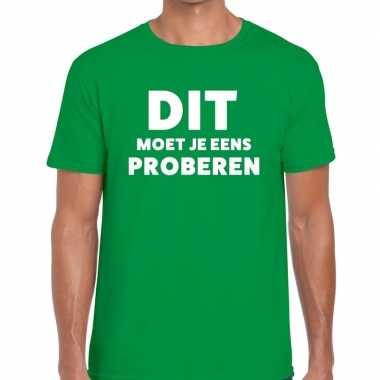 Dit moet je eens proberen beurs/evenementen groen heren t-shirt kopen