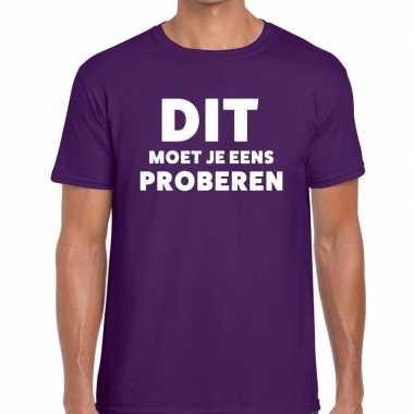 Dit moet je eens proberen beurs/evenementen paars heren t-shirt kopen