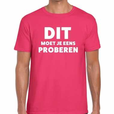 Dit moet je eens proberen beurs/evenementen roze heren t-shirt kopen