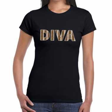 Diva slangen print tekst zwart dames t-shirt kopen