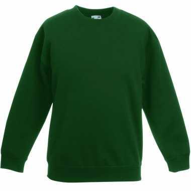 Donkergroene katoenmix sweater meisjes t-shirt kopen