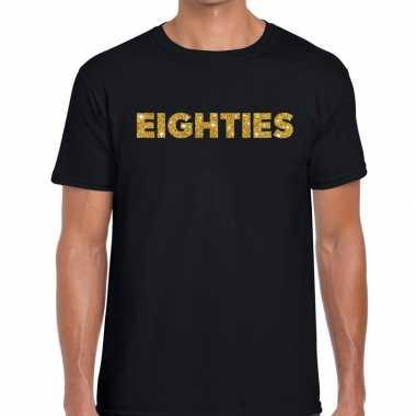 Eighties gouden glitter tekst zwart heren t-shirt kopen