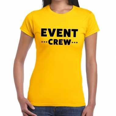 Event crew / personeel tekst geel dames t-shirt kopen