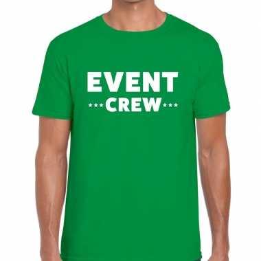 Event crew / personeel tekst groen heren t-shirt kopen