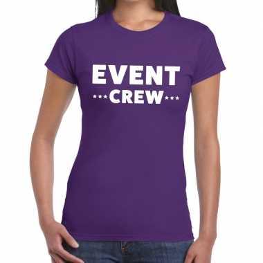Event crew / personeel tekst paars dames t-shirt kopen