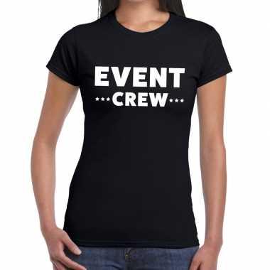Event crew / personeel tekst zwart dames t-shirt kopen