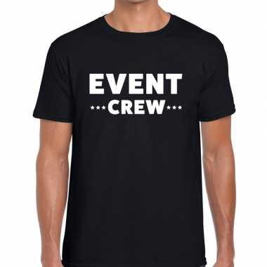 Event crew / personeel tekst zwart heren t-shirt kopen