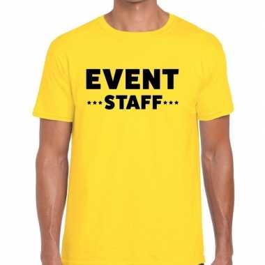 Event staff / personeel tekst geel heren t-shirt kopen