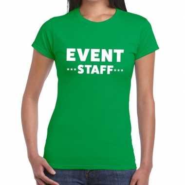 Event staff / personeel tekst groen dames t-shirt kopen