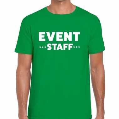 Event staff / personeel tekst groen heren t-shirt kopen