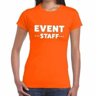 Event staff / personeel tekst oranje dames t-shirt kopen