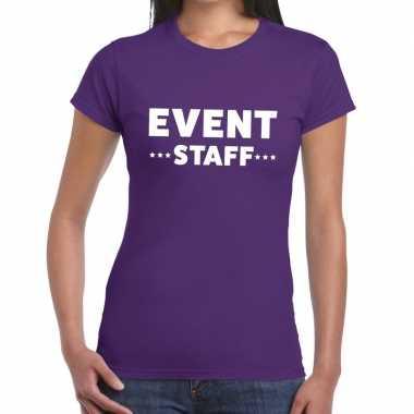 Event staff / personeel tekst paars dames t-shirt kopen