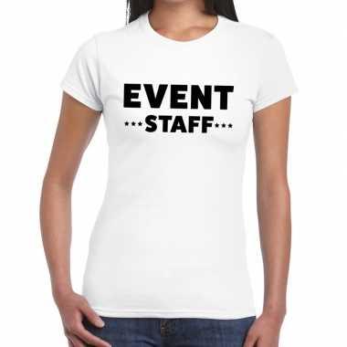 Event staff / personeel tekst wit dames t-shirt kopen