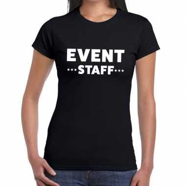 Event staff / personeel tekst zwart dames t-shirt kopen