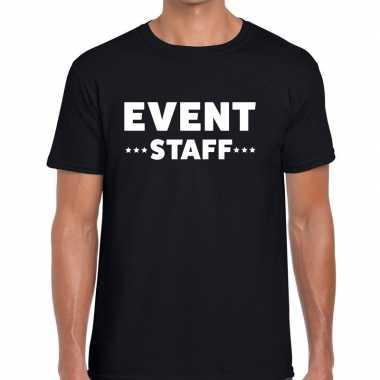 Event staff / personeel tekst zwart heren t-shirt kopen