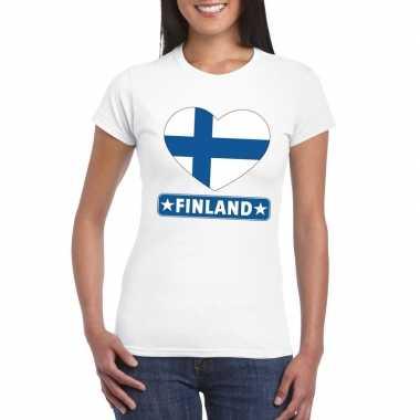 Finland hart vlag wit dames t-shirt kopen