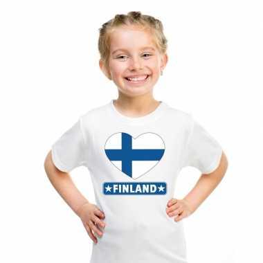 Finland hart vlag wit jongens meisjes t-shirt kopen