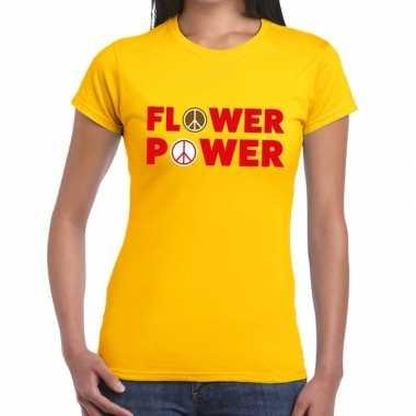 Flower power tekst geel dames t-shirt kopen