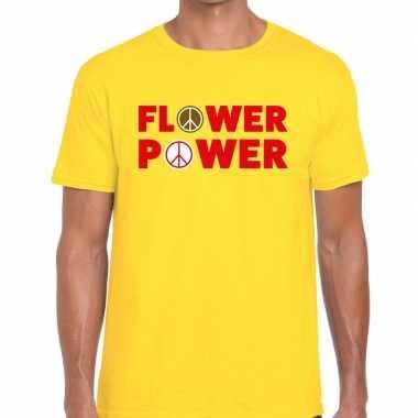 Flower power tekst geel heren t-shirt kopen