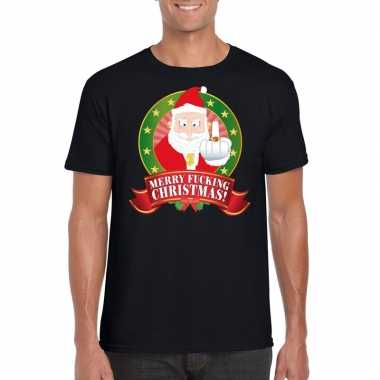 Foute kerst zwart merry fucking christmas heren t-shirt kopen