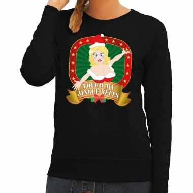 Foute kersttrui zwart touch my jingle bells dames t-shirt kopen