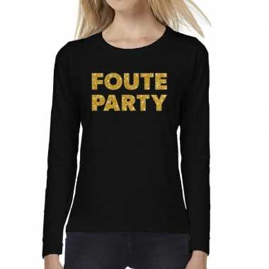 Foute party goud glitter long sleeve zwart dames t-shirt kopen