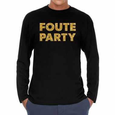 Foute party goud glitter long sleeve zwart heren t-shirt kopen