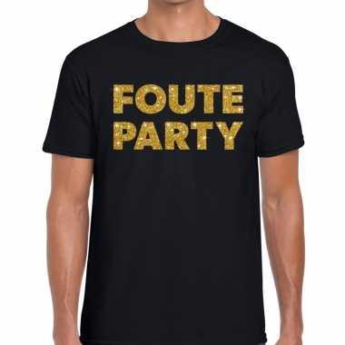 Foute party gouden glitter tekst zwart heren t-shirt kopen
