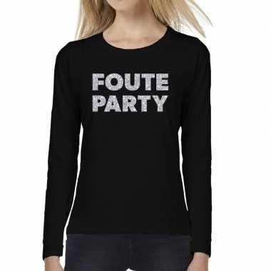 Foute party zilver glitter long sleeve zwart dames t-shirt kopen
