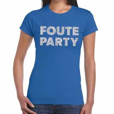 Foute party zilveren glitter tekst blauw dames t-shirt kopen