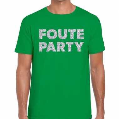 Foute party zilveren glitter tekst groen heren t-shirt kopen