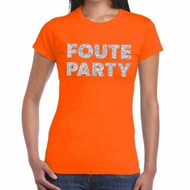 Foute party zilveren glitter tekst oranje dames t-shirt kopen