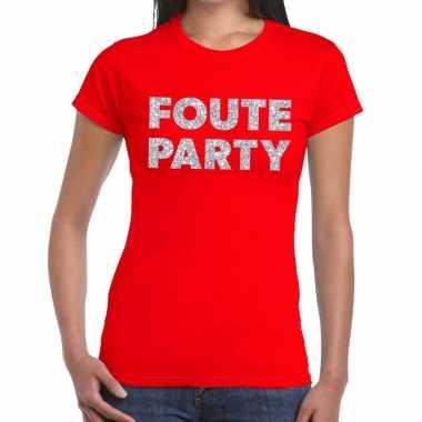 Foute party zilveren glitter tekst rood dames t-shirt kopen