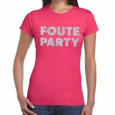 Foute party zilveren glitter tekst roze dames t-shirt kopen