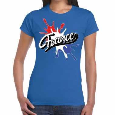 France/frankrijk spetter blauw dames t-shirt kopen