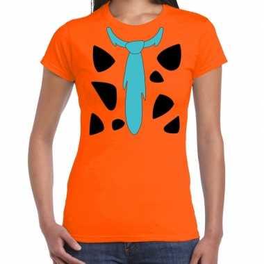 Fred holbewoner kostuum oranje dames t-shirt kopen