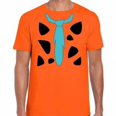 Fred holbewoner kostuum oranje heren t-shirt kopen