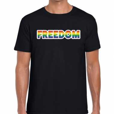 Freedom regenboog gaypride zwart heren t-shirt kopen