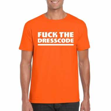 Fuck the dresscode heren oranje t-shirt kopen