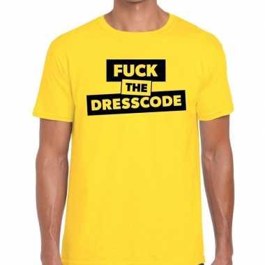Fuck the dresscode tekst geel heren t-shirt kopen